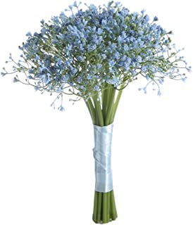Sunrisee Baby Breath Artificial Flowers Wedding Bridal Bouquet Gypsophila Flowers with Satin Ribbon for Wedding Party Home Decoration, Blue