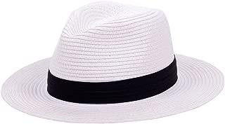 Panama Straw Hats,Womens Sun Hat Summer Wide Brim Floppy Fedora Beach Cap UPF50+