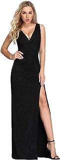 Vestido de Fiesta Noche Brillante para Mujer Largo Elástico Dividido V-Cuello 07505