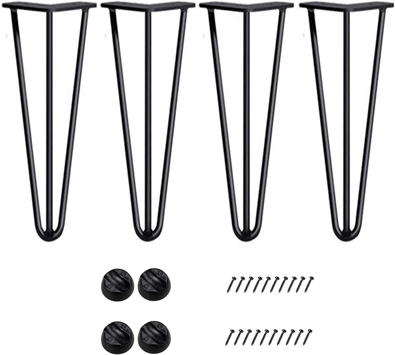 Bronkey 4PCS Vintage Industrial Style Hairpin Legs, 16  Three Rods 3 8  Solid Bar Construction Design, Black Steel Metal Heavy Duty Table Leg, for DIY Living Room TV Stand Sofa Coffee Shop Decoration