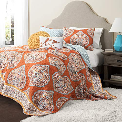 Lush Décor Harley Quilt Damask Pattern Reversible 5 Piece Bedding Set, King, Tangerine
