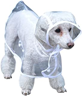 Topsung Dog Raincoat with Hood Poncho Transparent Rain Coat for Small Dogs Waterproof Puppy Cats Pets