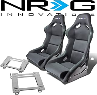 NRG FRP-300E Pair of Fiber Glass Bucket Racing Seat (Black)+Mounting Bracket for Mazda Miata MX-5 1st Gen NA