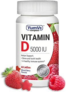 YumVs Complete Vitamin D3 Jellies (Gummies) 5000 IU of Vitamin D, Mixed Berry Flavor (60 Ct); Daily Dietary Supplement for...