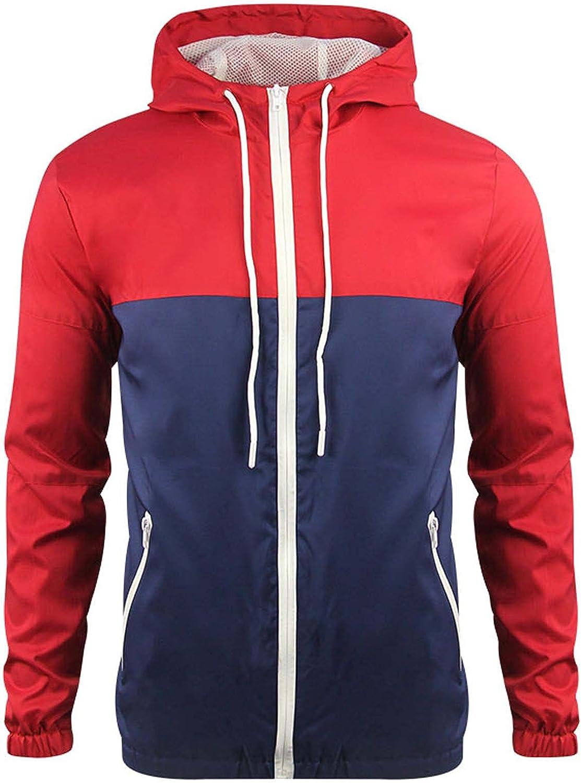 Men's Bomber Jacket Lightweight Hooded Windbreaker Camouflage Color Block Casual Soft Shell Zipper Cardigan Outwear Coat