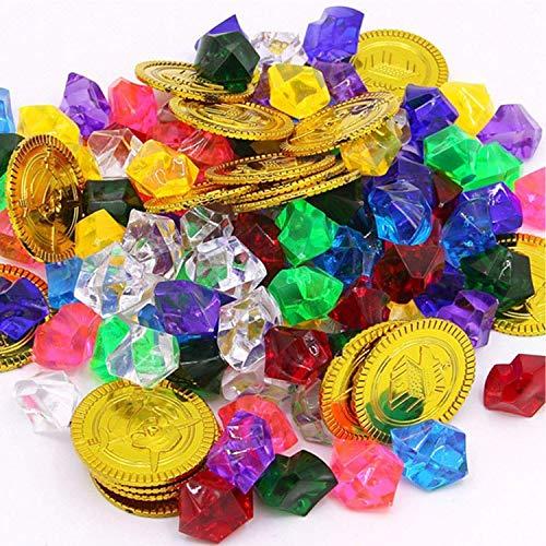WELLXUNK Monedas de Oro y Gemas Piratas del Tesoro Pirata, Niños de Monedas de Oro de 50 Piezas y Gemas Piratas de 100 Piezas, Tesoros para la Búsqueda del Tesoro Cumpleaños de los Niños