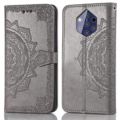 Bear Village Hülle für Nokia 9, PU Lederhülle Handyhülle für Nokia 9, Brieftasche Kratzfestes Magnet Handytasche mit Kartenfach, Grau
