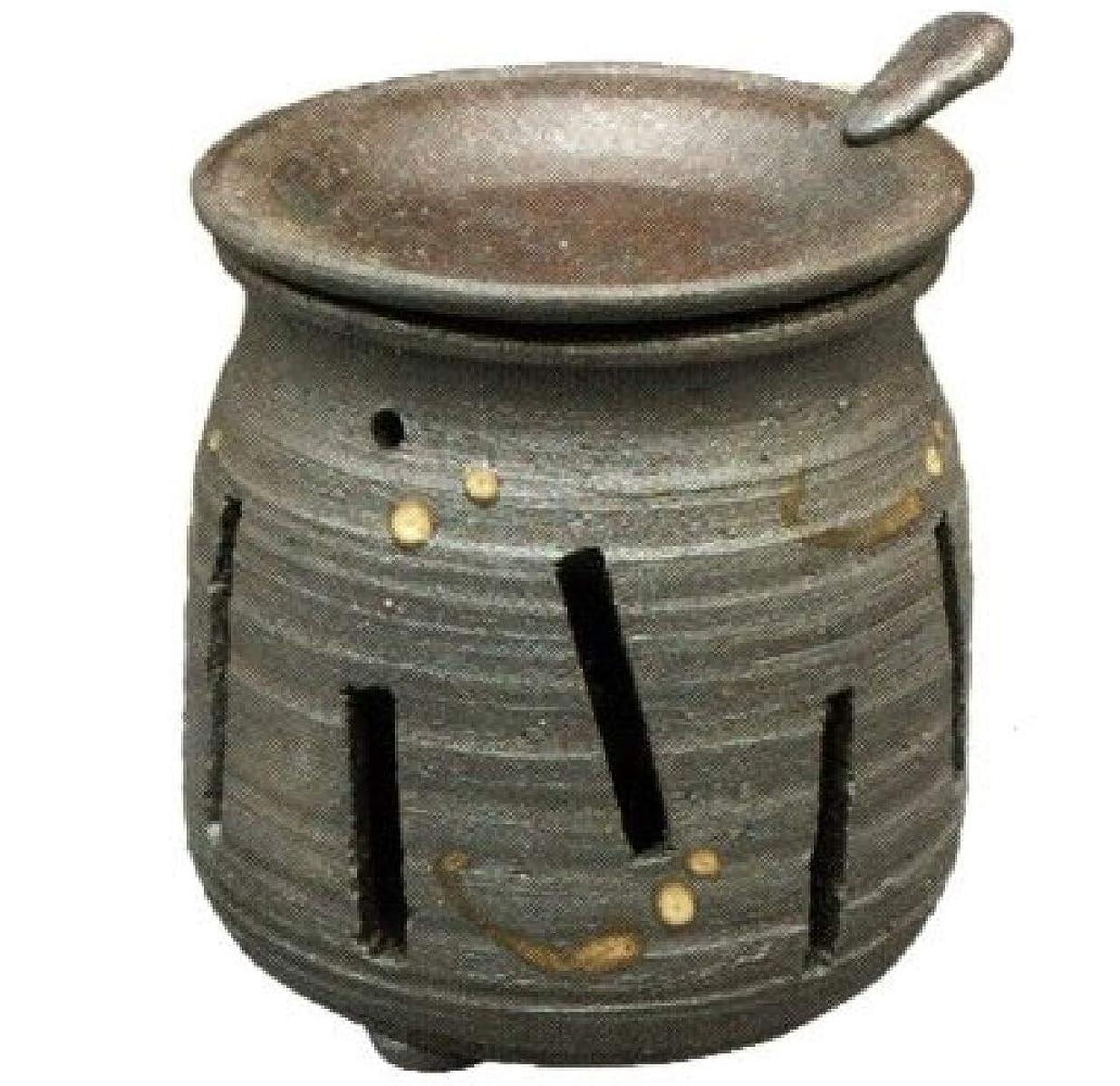 鋭くアカウントウガンダ常滑焼?焜清 カ39-07 茶香炉 焼締め 約φ9×9.7cm