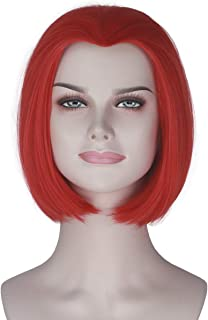 Miss U Hair Synthetic Women Girl's Short Straight Wig Hot Red Color Anime Cosplay Wig (Red)