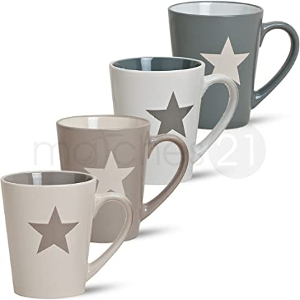 Preisvergleich für matches21 Tassen Becher 1 Stk. Stern weiß beige grau Keramik B-WARE ** PREISKRACHER ** 10 cm / 300 ml