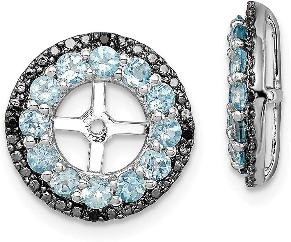 925 Sterling Silver Rhodium Swiss [Alternative dealer] Max 50% OFF Black Gemsto Gemstone and Blue