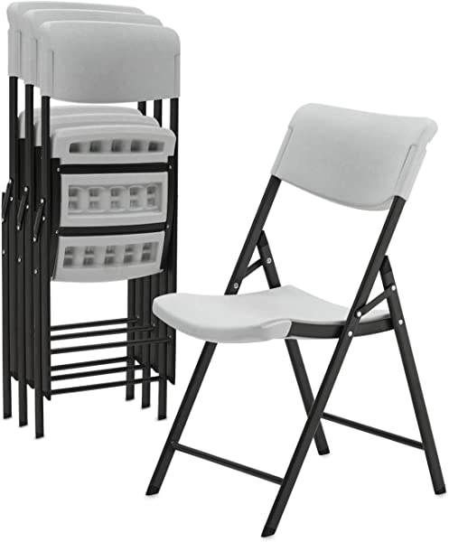 Superday Plastic Folding Chair Classic Commercial Grade Folding Party Chair With Molded Seat Pack Of 4