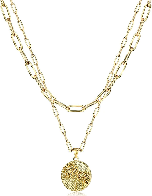 Bargain sale RONLLNA Gold Necklaces for Women Chain Flower Layered Washington Mall Birth Neck