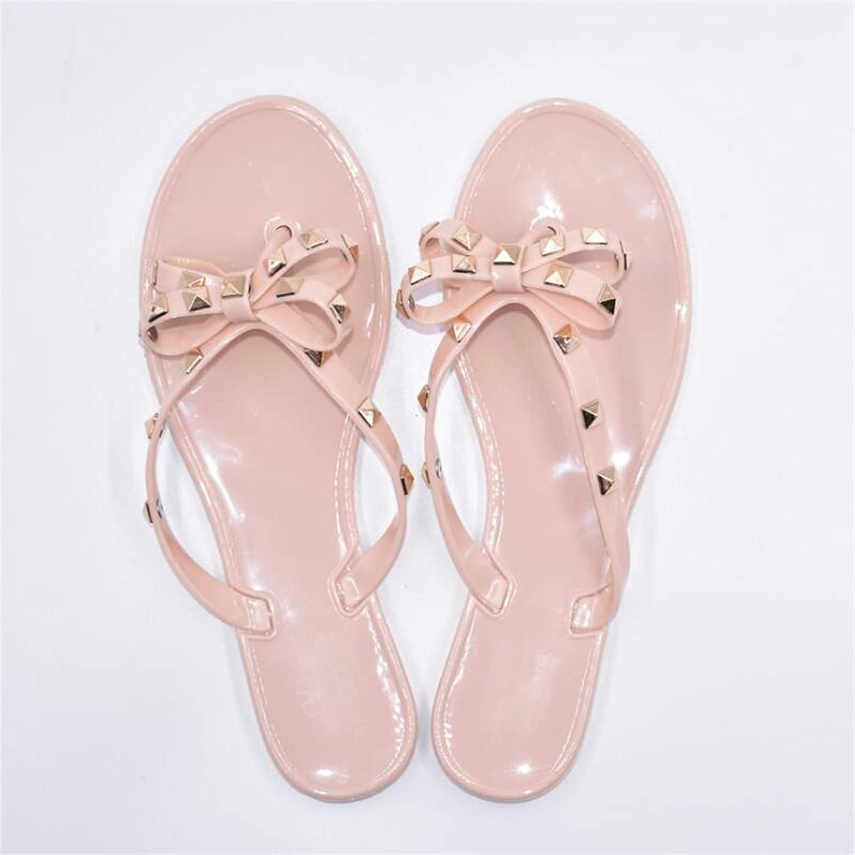 Yuncheng Womens Sandals Studded Jelly Bow Flip Flops Summer Beach Rivets Bow Flip-Flops Sandals (Color : Beige, Shoe Size : 6.5)