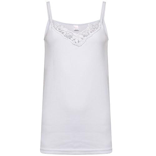 412b730868 Ladies Plain Camisole Cotton Vest Top Lace Trim Neck Design Cami Tank  Strappy (1000)