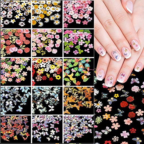 15 Boxes 3D Butterfly and Flowers Nail Decals Sequins Sticker Colorful Butterfly Design Slice Nail Flake Butterfly Nail Glitter Sequins for Nail Art Decoration Face Body DIY Crafting
