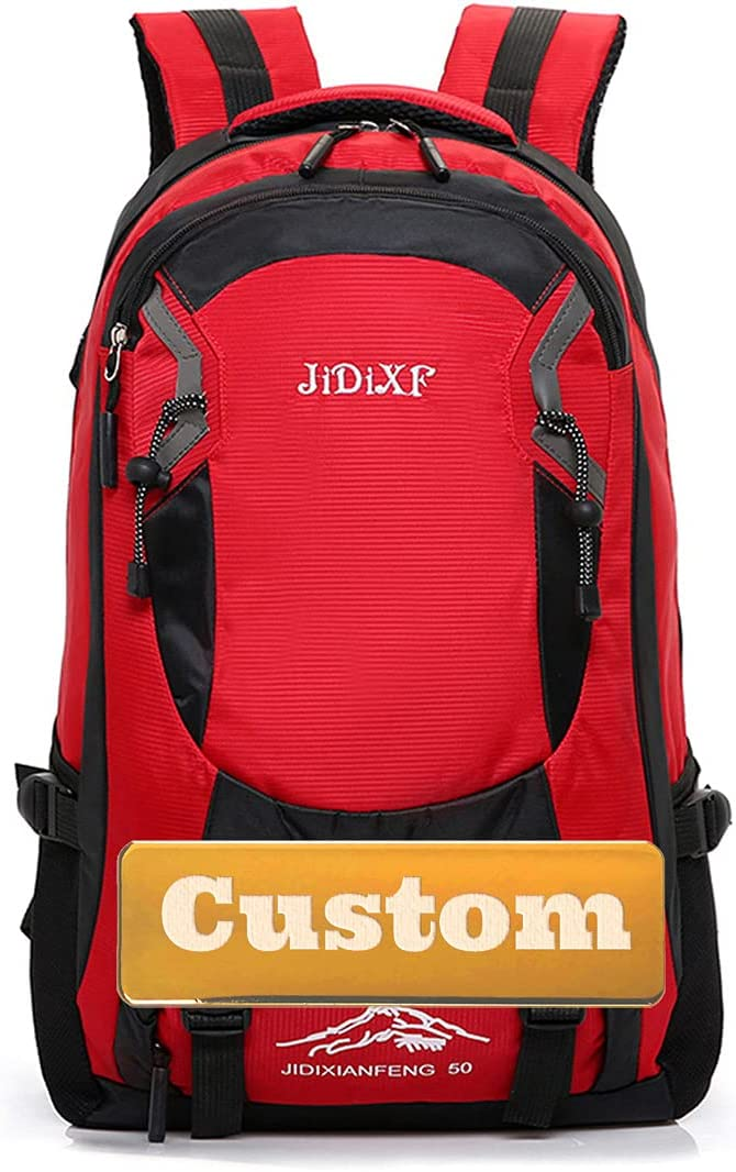 FireH Personalized Custom Name Best Bag Daypack Hiking Backpack for Women Best Lightweight Pack (Color : Red, Size : One Size)