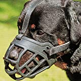 Dog Muzzle,Soft Basket Silicone Muzzles for Dog, Best to Prevent Biting, Chewing and Barking, Allows Drinking and Panting, Used with Collar (1 (Snout 7-8'), Black)