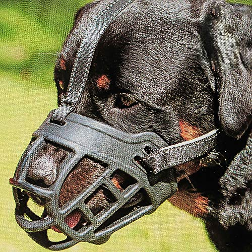 """Dog Muzzle,Soft Basket Silicone Muzzles for Dog, Best to Prevent Biting, Chewing and Barking, Allows Drinking and Panting, Used with Collar (1 (Snout 7-8""""), Black)"""