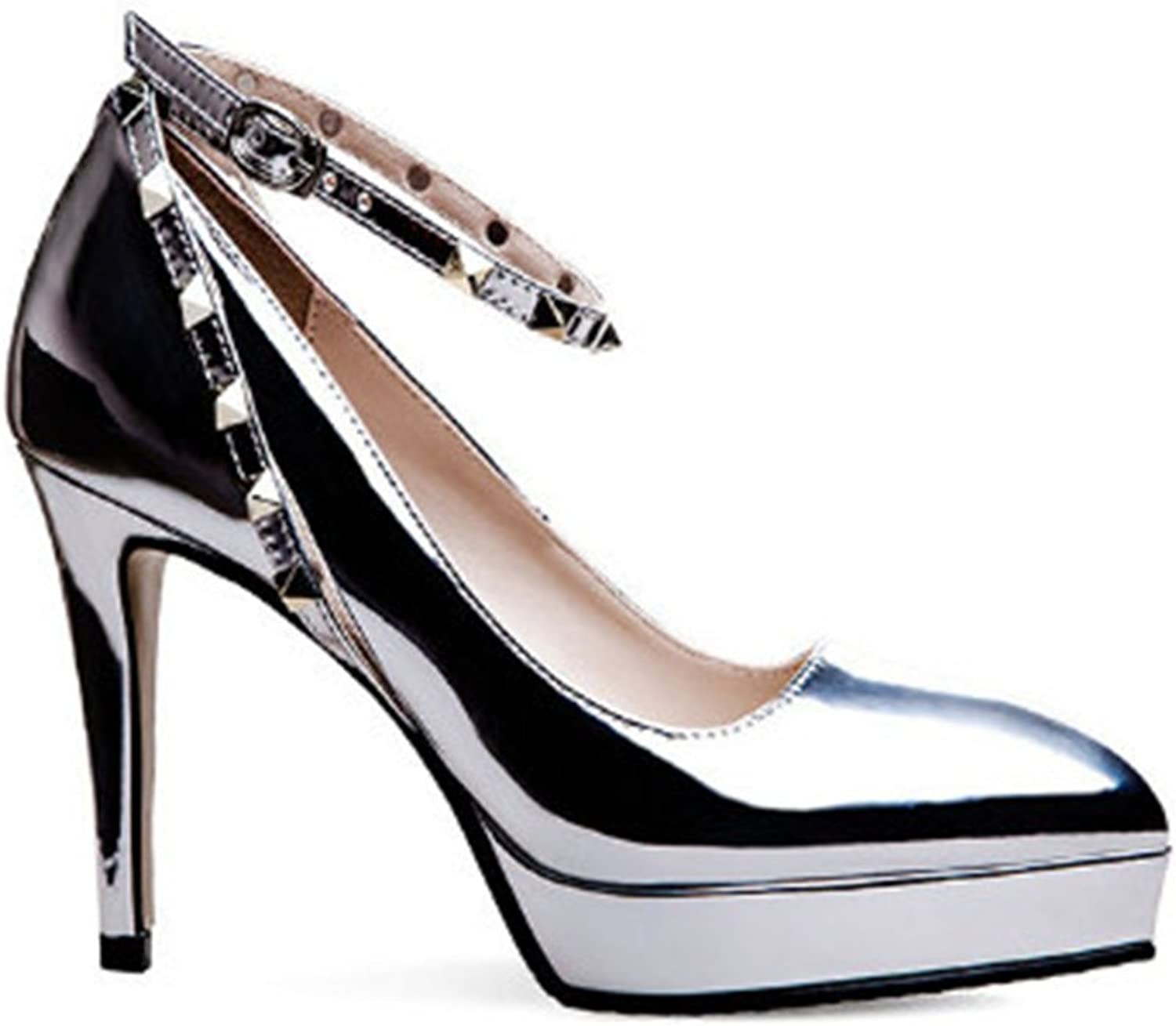 MIKA HOM Women's Sexy Floral Print Pointed Toe Buckle Ankle Strap Stiletto High Heel Pumps shoes
