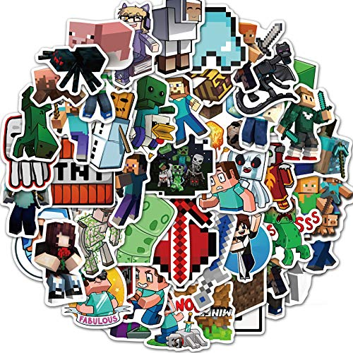 SHUYE Juego de Aventuras Minecraft DIY Funda para teléfono móvil Monopatín para portátil Pegatinas de Graffiti súper Impermeables 50...