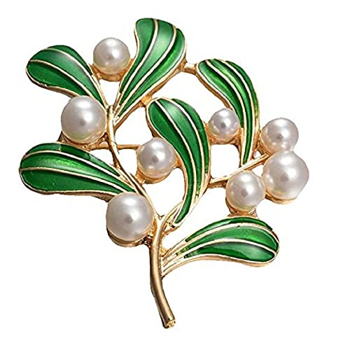 70e1f5215c8 Topdo 1Pcs Exquisite Brooch Vintage Pearl Tree Leaf Brooch Pin Elegant  Corsage Women Brooch Clip Scarves