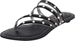 Catwalk Women's Studded Multi Strap Slip Ons