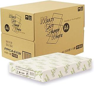 国産 高白色PPC用紙 マルチカットペーパー ホワイト 64g/m2 白色度90% A4 500枚×5冊 2,500枚 PPCA4XW
