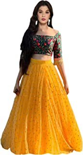 39d73e5540 Sojitra Enterprise Women's Heavy Net Embroidered Semi Stitched yellow  colour lehenga choli With Blouse Piece (