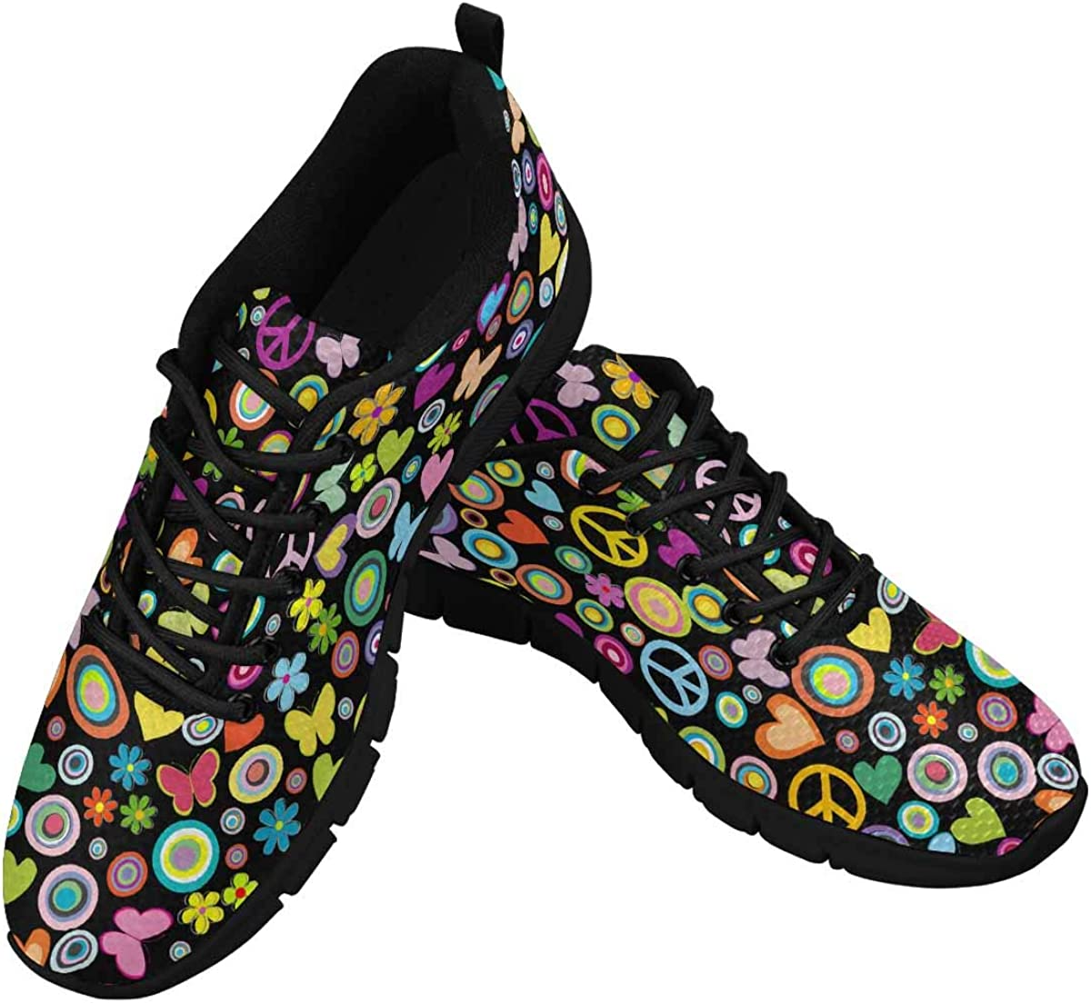 InterestPrint Flowers Hearts Butterflies Peace Signs Women's Athletic Mesh Breathable Casual Sneaker