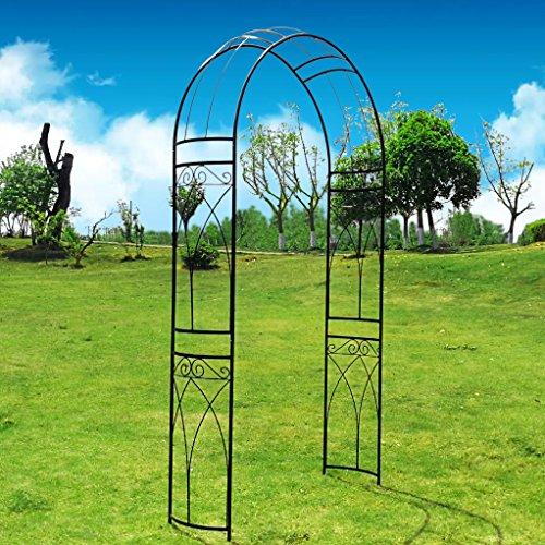 outour® Stereoscopic Metall Garden Arch Arbor Gartenlaube Torbogen mit Graceful Kurve für Kletterpflanzen Rosen Ranken, Outdoor Garten Rasen Backyard Terrasse, Hochzeit, Schwarz