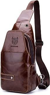 BULLCAPTAIN Sling Bag Men Leather, Chest Bag Crossbody Shoulder Business Backpack Outdoor