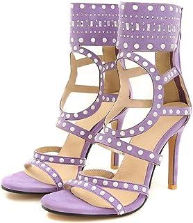 Summer Sandals with Rivet, Short Tube Hollowed-out Stiletto Sandals, Roman Style Plus Size Women's Shoes