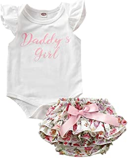 Weixinbuy Baby Girl's Letter Printed White Romper Overall Floral Bowknot Boomer Shorts Outfit Set