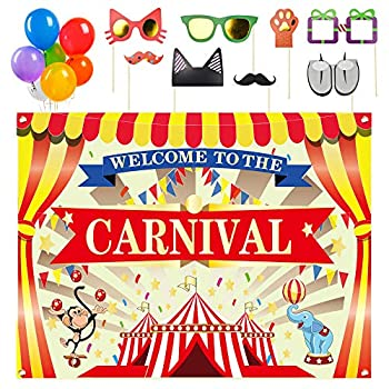 ERKOON Circus Carnival Banner Backdrop Carnival Party Supplies 36PCS Carnival Photo Booth Props and 21 PCS Carnival Balloons For Circus Carnival Party Supplies Decorations