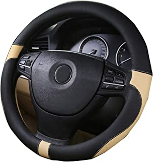 XiXiHao 2018 Sport Leather car Steering Wheel Cover car Styling Environmental Protection Not Smelly Diameter 38cm Black Beige