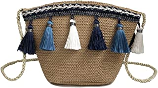 THURergK Fashion Lady Girls Tassel Chain Shoulder Beach Bag Straw Bag Summer Bucket Bag Tote Bag for Home Decoration(None Blown)
