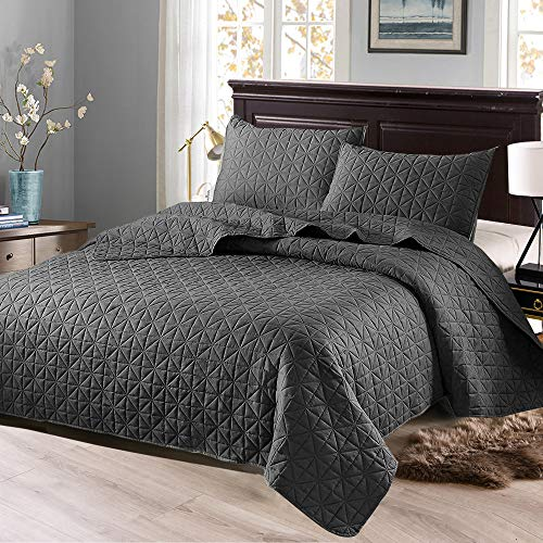 Exclusivo Mezcla 3-Piece King Size Quilt Set with Pillow Shams, as Bedspread/ Coverlet/ Bed Cover( Solid Steel Grey) - Soft, Lightweight, Reversible and Hypoallergenic