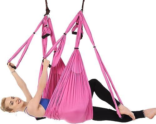 YJSLLL 6 poignées Anti-gravité Yoga Hamac Trapeze Home Gym Suspendu Ceinture Sangle D'oscillation Pilates Aérienne Dispositif De Traction 2.5  1.5 M