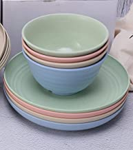 Max n' Mia Wheat Straw Dinnerware Set (8 pcs) - Unbreakable, Dishwasher and Microwave Safe, Lightweight, Reusable, Eco Fri...