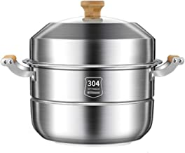 Steamer With Bamboo Handle, Kitchen Stainless Steel Steamer, Soup Pot, Multi-function Thickened Food Boiler, Household Coo...