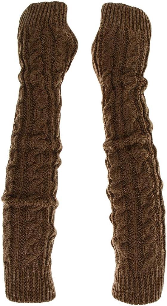 Kloware Women Winter Knit Long Fingerless Gloves Thumbhole Arm Warmer Mittens
