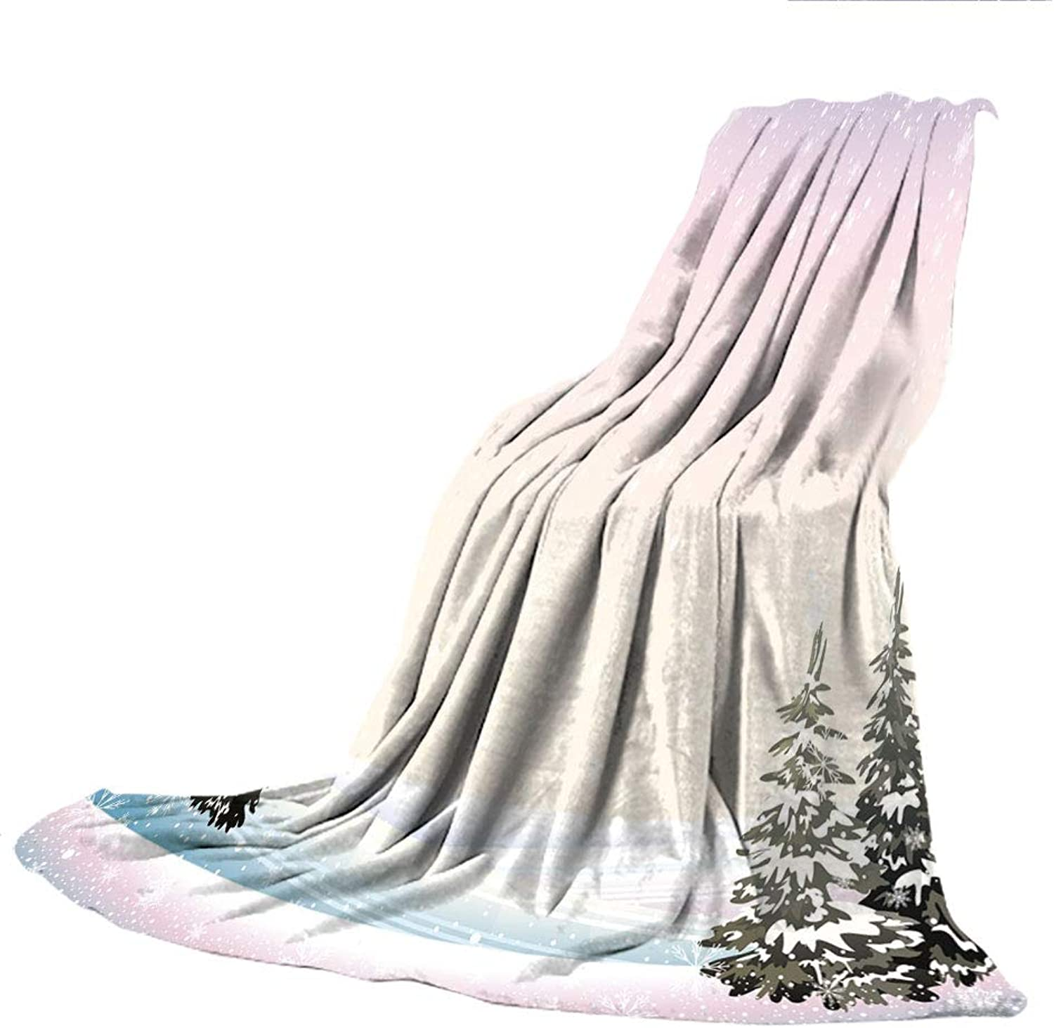 SCOCICI SuperThick Flannel Warm Sofa or Bed Blanket,Winter,Snowfall in The Forrest Pine Trees Northern Hemisphere December Frozen Temperatures Decorative,39.37  W x 59.06  H