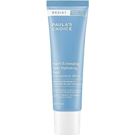 Paula's Choice RESIST Daily Hydrating Fluid Face Moisturizer SPF 50, UVA & UVB Protection, Chamomile & Vitamin E, Sunscreen for Oily Skin, 2 Ounce