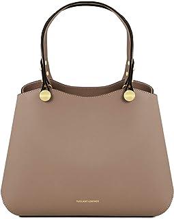 Tuscany Leather Anna Leather Handbag - TL141684 (Dark Taupe) 3c1859e607b99