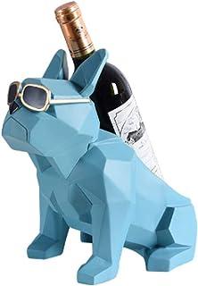 KUKU Casier À Vin De Bureau Créatif, Casier À Vin en Résine Bouledogue Français, Présentoir À Bouteilles De Vin De Luxe, U...