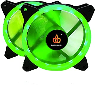 BODHiMECH 120mm Halo LED PC Cooling Silent Case Fan for PC Computer Case (2 Pack Green)