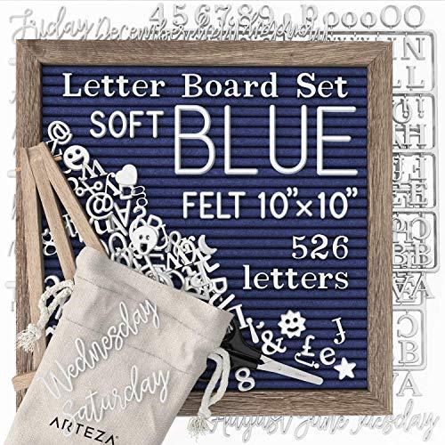 Arteza Letterboard Set blau/Filz, 25.4 x 25.4cm, Buchstabentafel mit 526 Buchstaben, 164 Symbolen, 33 kursiven Wörtern, Holzständer, Schere und Aufbewahrungstasche, Stecktafel für Deko und Menüs