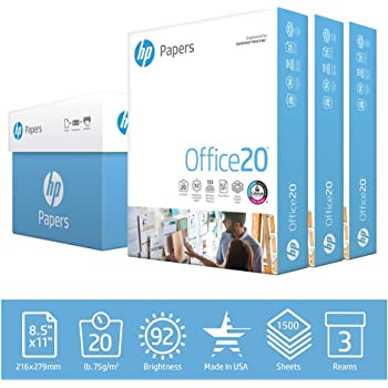 HP Printer Paper 8.5x11 Office 20 lb 3 Ream Case 1500 Sheets 92 Bright Made in USA FSC Certified Copy Paper HP Compatible 112090C