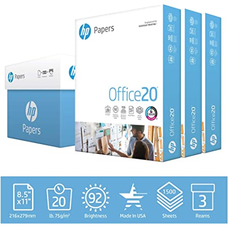 hp Printer Paper | 8.5 x 11 Paper | Office 20 lb | 3 Ream Case - 1500 Sheets | 92 Bright | Made in USA - FSC Certified | 112090C
